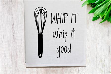'Whip it Good' Linen Tea Towel in Off White