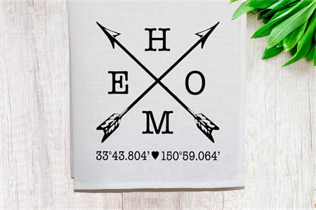 Personalised 'Home' Linen Tea Towel in Off White