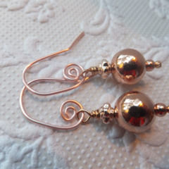 18k Rose Gold Filled Earrings on Swirled Rose Gold Plated Earring Hooks
