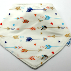Bandanna  for Dribbles  Arrows on Cotton Fabric, Bamboo Toweling, with Snaps