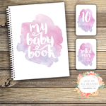 GIFT SET: Baby Record Book & Milestone Cards -  Watercolour Splashes - Girl