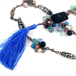 Cinnabar and Semi Precious and Crystal Beaded Tassel Necklace