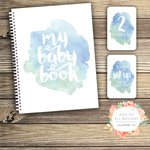 GIFT SET: Baby Record Book & Milestone Cards -  Watercolour Splashes - Boy