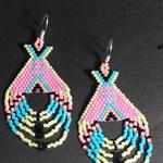 Bright Tee pee Beaded Earrings