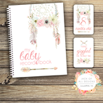 GIFT SET: Baby Record Book & Milestone Cards - Floral Dreamcatcher
