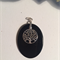 Oval Onyx Pendant with sterling silver tree of life charm