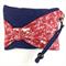 Handcrafted kimono fabric clutch handbag with bow- indigo and red