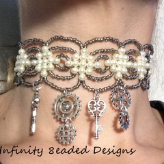 Steampunk Beaded Choker Necklace