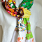 Quirky apricot scarf, cute fun, cat, gypsy, green floral, brown yellow orange