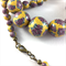 Handcrafted Polymer Clay Long Necklace- yellow and lilac floral