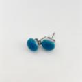 Burst of Colour Peacock Blue Mini Fused Glass Earrings