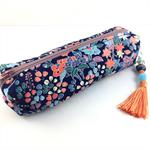 Kimono fabric makeup bag /pencil case with beaded tassel- indigo & orange floral