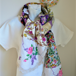 Purple floral scarf, unusual, pink, tan, beige, extra long, quirky statement