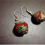 Fabulous Moroccan Red, Green and Silver mosaic beaded earrings