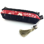 Kimono fabric makeup bag / pencil case with beaded tassel- black and red