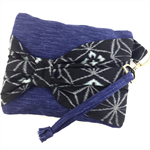 Handcrafted kimono fabric clutch handbag with bow- indigo ikat