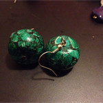 Green and Grey Hand-polished Moroccan beaded Earrings