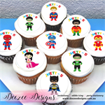 "Superhero Personalised Edible Icing Cupcake Toppers - 2"" - PRE-CUT"