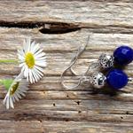 Blue Sapphire Gemstone & Tibetan Bead Earrings