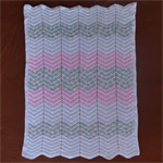 Chevron crochet baby blanket | cream, pink, multicolour | gift | baby shower