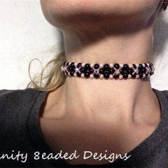Steampunk Beaded Choker Necklace Pink Black Crystals
