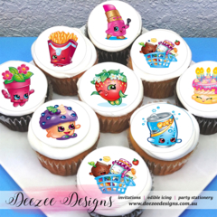 "Shopkins Edible Icing Cupcake Toppers - 2"" - PRE-CUT"