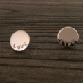 Stainless Steel Personalised Hand Stamped Circle Disc Earrings 13mm Silver