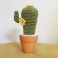 Crochet cactus with yellow flowers and pebbles