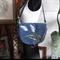 Denim handbag with tulips