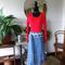 Midi Wrap Skirt with check sash/tie