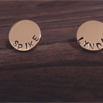 Stainless Steel Personalised Hand Stamped Circle Disc Earrings 13mm Gold