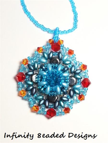 Fire and Ice Rivoli Beaded Pendant Necklace