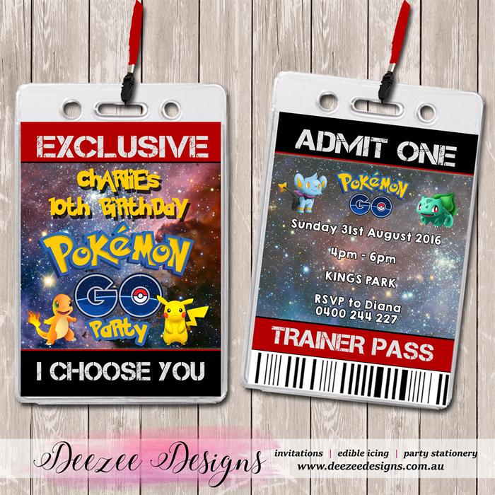 Pokemon Go VIP Lanyard Birthday Invitations X 10