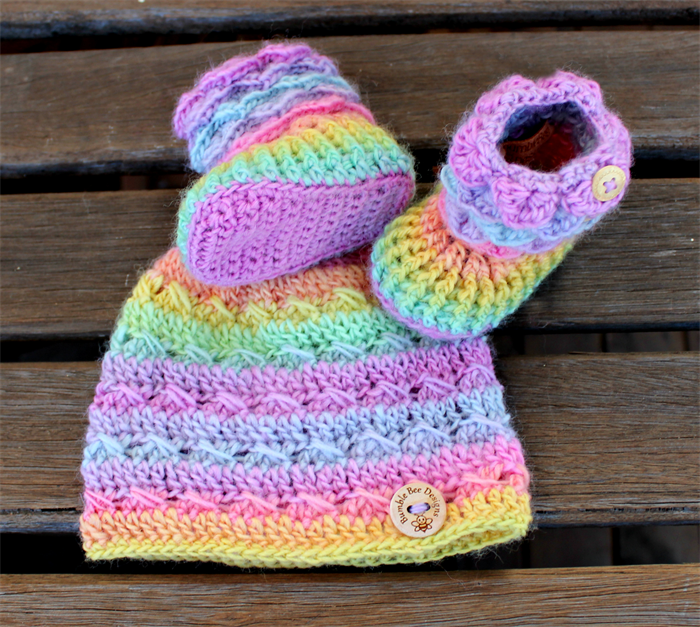 Baby Beanie - Baby Hat - Baby Booties – Wool Baby Shoes - Rainbow Baby  Booties  b06163710a1