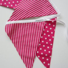 Spots and Stripes, Hot Pink Fabric Bunting - 3 meters