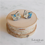 Cherry Blossom Japanese Chiyogami Paper Covered Wood Chevron Earrings