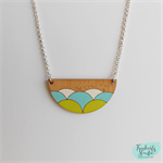 Lime Green, White & Aqua Wave Scallop Laser Cut Bamboo Wood Pendant Necklace