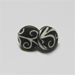 Grey & White Bezel Set Earring Studs