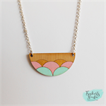 Mint, Pink and Gold Wave Scallop Laser Cut Bamboo Wood Pendant Necklace