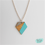 Aqua Blue and Grey Geometric Gem Laser Cut Bamboo Wood Pendant Necklace