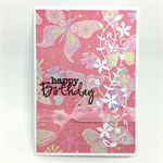 Birthday Card - Pink Butterfly Print with White Vine