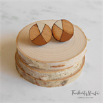 Brown and Cream Hand Painted Wood Circle Stud Earrings