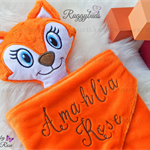 Minky Fox 'Ruggybud' - personalised, comforter, keepsake, lovey.