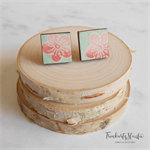 Cherry Blossom Japanese Chiyogami Paper Covered Wood Square Stud Earrings