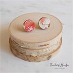 Cherry Blossom Japanese Chiyogami Paper Covered Wood Circle Stud Earrings
