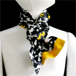 Kasuri (ikat) weave silk scarf in yellow, white and black. Recycled kimono silk