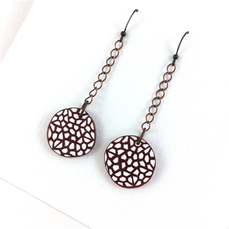 Handcrafted Polymer Clay Earrings- Copper and White disks