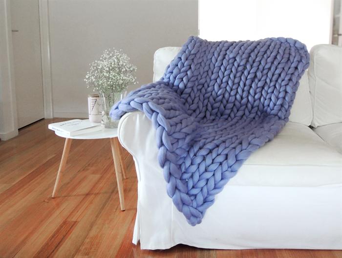 Giant Chunky Knit Blanket Throw In Lilac Small Australian Enchanting Merino Wool Blanket Throws
