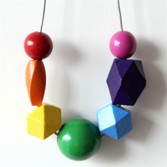 Wear a rainbow. Hand painted rainbow wooden beaded necklace,