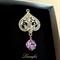 Crystal Brooch - Violet,Clear - Swarovski - Cubic Zirconia - Silver tone - BR028